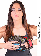 Young caucasian woman with black baseball glove