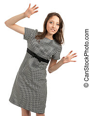 Young caucasian woman with hands up