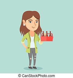 Young caucasian woman with pack of beer.
