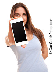 Young caucasian woman with smartphone isolated over white ...