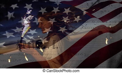 Animation of U.S. flag waving with U.S. Constitution text rolling over Caucasian woman holding sparklers. United States of America flag and holiday concept digital composition