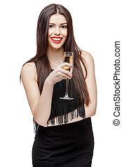 Young celebrating woman black dress