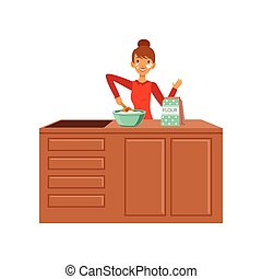 Young cheerful woman baking, housewife girl cooking food in the kitchen flat vector Illustration