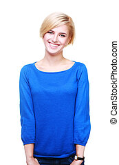 Young cheerful woman in blue sweater isolated on white background