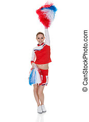 Young Cheerleader Holding Pom-poms - Happy Young Cheerleader...