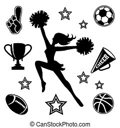 Young cheerleader with associated icons - Black vector...