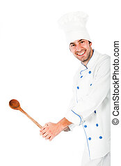 Young chef isolated