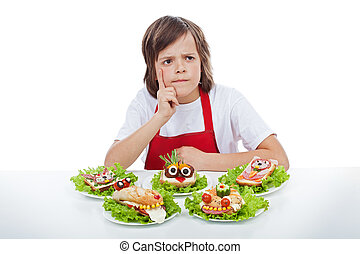 Young chef thinking about the next creative sandwich idea