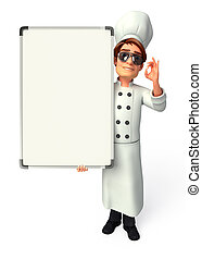 Young chef with display board