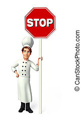 Young chef with stop sign