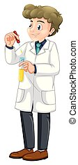 Young Chemist on White Background