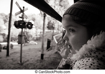 Young Child At a Train Window