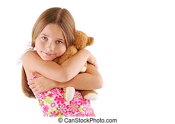 Young Child Hugging A Teddy Bear - Young Child Girl Hugging...