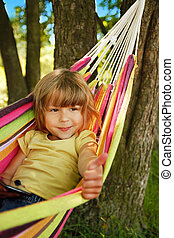 Young child in a hammock