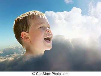 young child in the sky