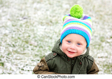Young Child Outside in Fresh Winter Snow