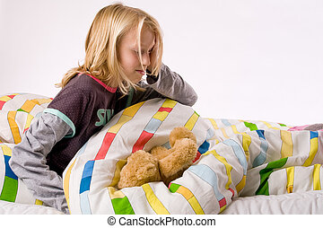 Young child waking up - Sleeping young cute child in a ...
