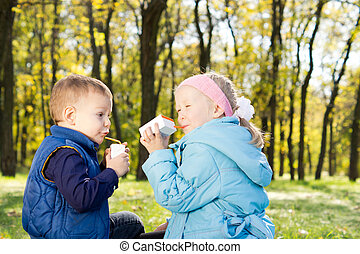Young Children Drinking Juice in a Park