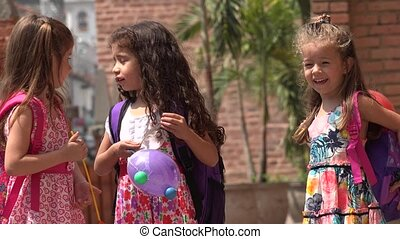 Young Children Girls Talking
