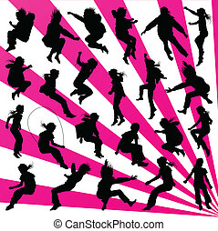 Young children illustration collection silhouettes jumping in the air background vector