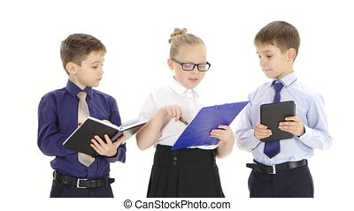 Young children office workers discuss important business ...