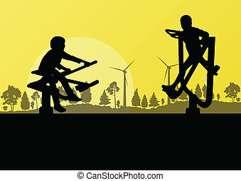 Young children playground in countryside farm forest wind...