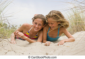 Young Children Playing at the Beach