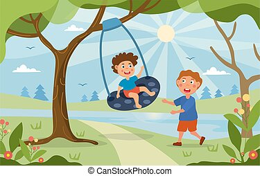 Young children playing on a swing in the park