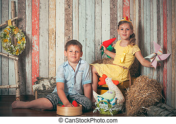 young children playing with toys