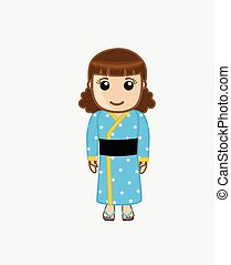Young Chinese Girl Dress-Up Vector Illustration