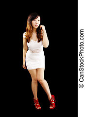 Young Chinese Woman Standing White Dress Shoes