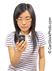 Young chinese woman talking in mobile phone