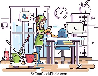Young cleaning woman cleans, wipes dust in office workplace....