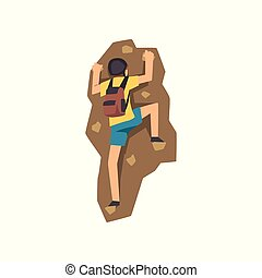 Young climber in protective helmet climbing mountain with backpack, mountaineering, extreme sport and leisure activity concept vector Illustration