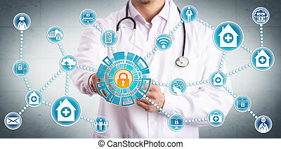 Young male clinician securely sharing sensitive healthcare data across mobile devices and medical practices. IT concept for cybersecurity and secure information sharing in the health care industry.
