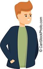Young colleague icon, cartoon style