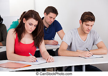 Young college students writing at desk