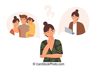 Young concerned woman choosing between family and career. Hard question about life and work balance, children and professional opportunities. Flat vector illustration isolated on white background