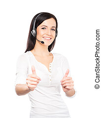 Young, confident and beautiful customer support operator isolate