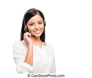 Young, confident and beautiful customer support operator...