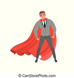 Young confident business man with red superhero cape standing in powerful position. Handsome male character in stylish gray suit, shirt and tie. Flat vector design