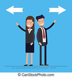 Young conflicted businessman choosing between two directions with arrows. Cartoon flat vector illusration isolated on blue background.