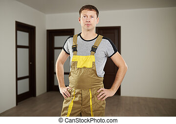 Young construction worker man