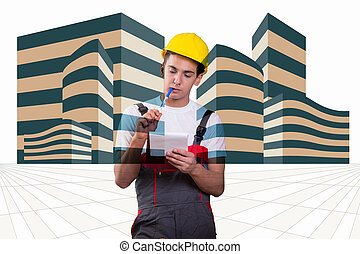 Young construction worker taking notes
