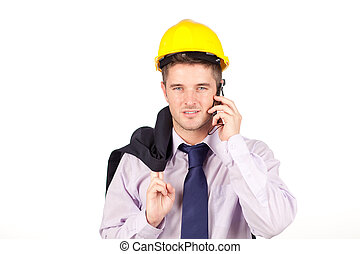 Construction worker talking on the phone