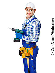 Young construction worker with electric drill - Portrait of...