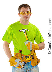 young construction worker with tools holding claw hammer and loo