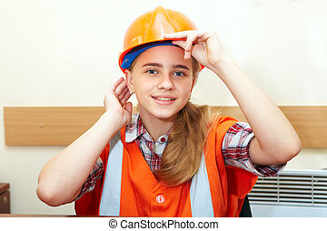Young contractor in office