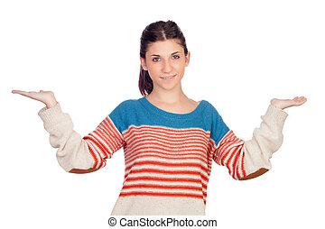 Young cool woman with her arms extended