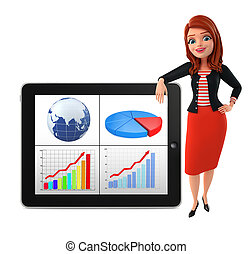 Illustration of corporate lady with business graph